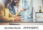 group of three young coworkers...   Shutterstock . vector #499948891