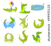 vector set with cute cartoon... | Shutterstock .eps vector #499955125