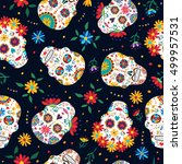 day of the dead seamless... | Shutterstock .eps vector #499957531