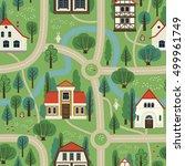 illustration city map. cartoon. ... | Shutterstock .eps vector #499961749