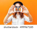 fashion cool girl taking... | Shutterstock . vector #499967185
