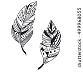 doodle feathers for coloring... | Shutterstock .eps vector #499968055