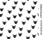 seamless pattern of black cat  | Shutterstock .eps vector #499969885