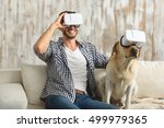 dog and bachelor wearing... | Shutterstock . vector #499979365