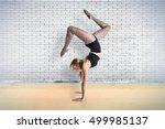 blonde ballerina dancing over... | Shutterstock . vector #499985137