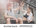 delighted man and woman in... | Shutterstock . vector #499995415
