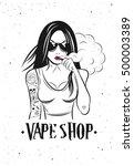 poster vape girl. vector... | Shutterstock .eps vector #500003389