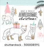 hand drawn christmas card with...   Shutterstock .eps vector #500008591