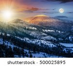 24 hour a day concept image of carpathian mountain rural area near peaks in snow on frosty sunrise in winter - stock photo