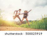 young hipster couple in love... | Shutterstock . vector #500025919