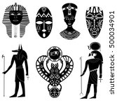 black   white silhouettes set... | Shutterstock .eps vector #500034901