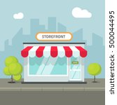Storefront In The City Vector...