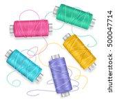 thread spool set background for ... | Shutterstock .eps vector #500047714