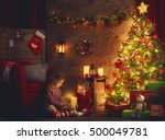 merry christmas and happy... | Shutterstock . vector #500049781