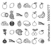hand drawn fruits set on white... | Shutterstock . vector #500050777