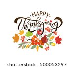 hand drawn happy thanksgiving... | Shutterstock .eps vector #500053297