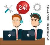 customer service agent working...   Shutterstock .eps vector #500059459