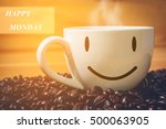happy monday coffee cup on wood ... | Shutterstock . vector #500063905