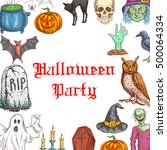 halloween party design with... | Shutterstock .eps vector #500064334