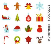christmas icons set in flat... | Shutterstock . vector #500072221