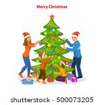 family decorating together... | Shutterstock .eps vector #500073205