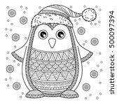 merry christmas. jolly penguin. ... | Shutterstock .eps vector #500097394