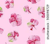 pink hydrangea watercolor... | Shutterstock . vector #500098729