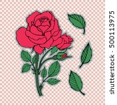 rose tattoo set. sticker  patch ... | Shutterstock .eps vector #500113975