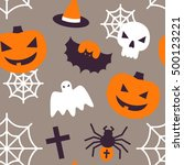 halloween seamless pattern with ... | Shutterstock .eps vector #500123221