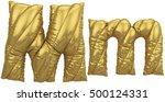 gold balloon font. 3d rendering. | Shutterstock . vector #500124331