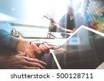 two colleague web designer... | Shutterstock . vector #500128711