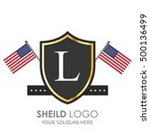 usa flag made sheild logo.... | Shutterstock .eps vector #500136499