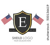 usa flag made sheild logo.... | Shutterstock .eps vector #500136619