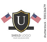 usa flag made sheild logo.... | Shutterstock .eps vector #500136679