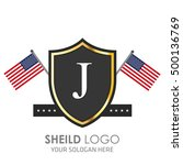 usa flag made sheild logo.... | Shutterstock .eps vector #500136769