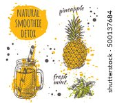 vegan smoothie natural card... | Shutterstock .eps vector #500137684
