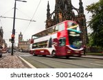 blurry two deck bus in the city ... | Shutterstock . vector #500140264
