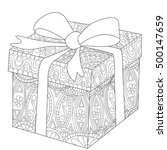 gift box with bow coloring book ... | Shutterstock . vector #500147659