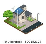 modern green eco house with... | Shutterstock .eps vector #500152129