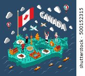 canada isometric map with... | Shutterstock .eps vector #500152315