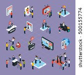 reporters isometric icons set... | Shutterstock .eps vector #500155774