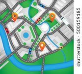 city map with navigation icons. ... | Shutterstock .eps vector #500159185