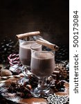 cocoa in large glasses for hot... | Shutterstock . vector #500173084