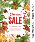 vector christmas sale banner... | Shutterstock .eps vector #500175307