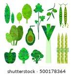 geometric green vegetables set. ... | Shutterstock .eps vector #500178364