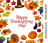 happy thanksgiving day greeting ... | Shutterstock .eps vector #500186839