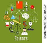 science research flat icons... | Shutterstock .eps vector #500186869