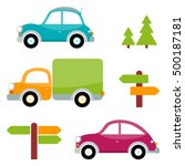 set of multicolored toy cars... | Shutterstock .eps vector #500187181