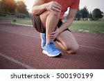 runner with injured ankle on... | Shutterstock . vector #500190199