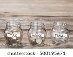 money in the glass on wood... | Shutterstock . vector #500195671